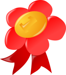 Red award ribbon clip. Awards clipart first place