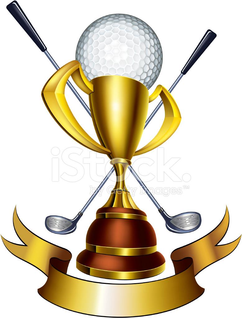 Cup emblem stock vector. Golf clipart award