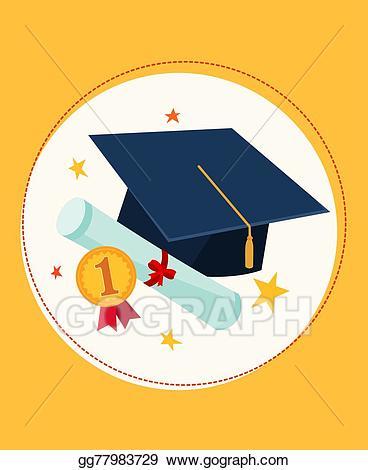 Award clipart graduation. Vector stock cap and