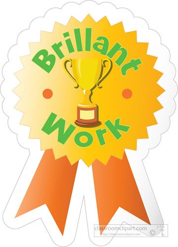 Award clipart homework. Motivational brillant work sticker