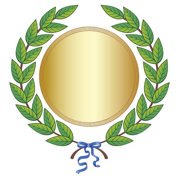 Digital green leaf laurel. Award clipart medal