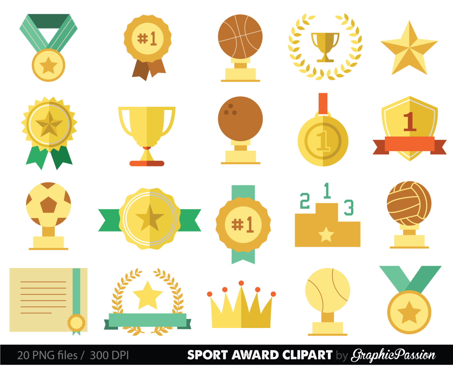 Sports racing prizes flags. Award clipart medal