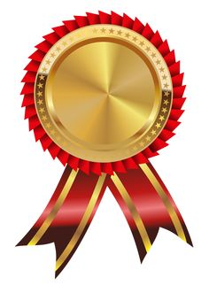 Gold with red ribbon. Award clipart medal