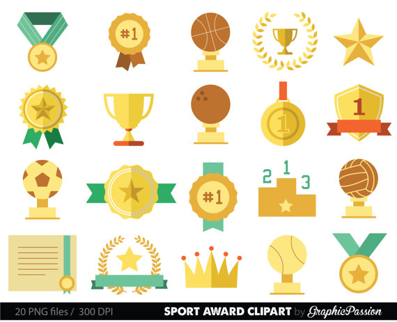 Sports racing prizes flags. Athletic clipart race