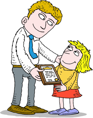 Image giving child certificate. Adult clipart