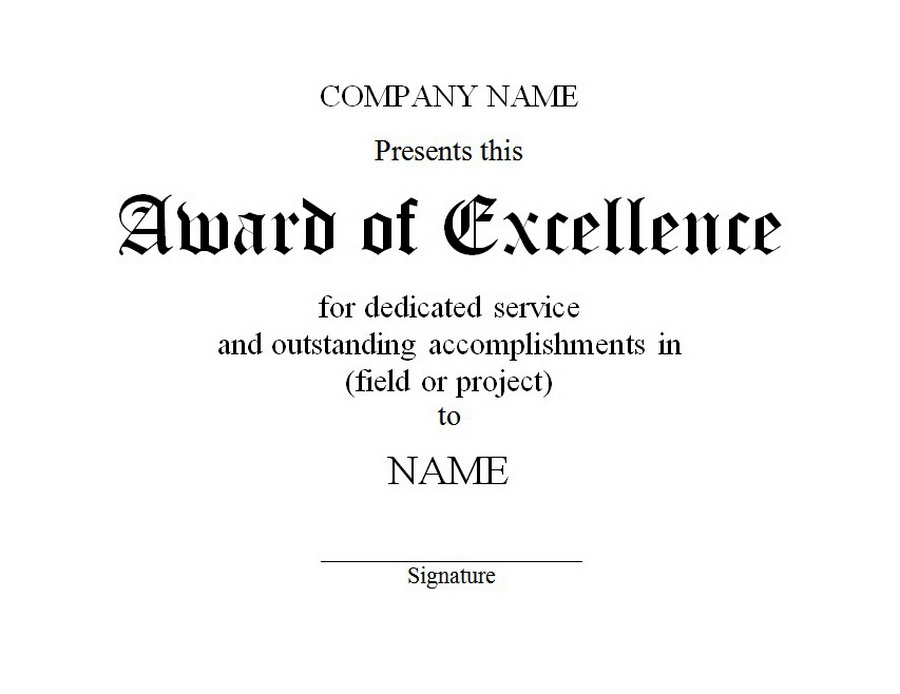 Of excellence free word. Award clipart service award