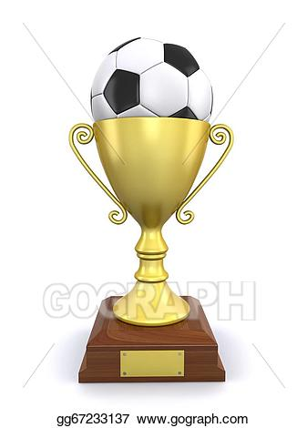 Award clipart soccer. Drawing ball and trophy