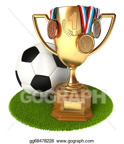 Gold cup with medals. Award clipart soccer