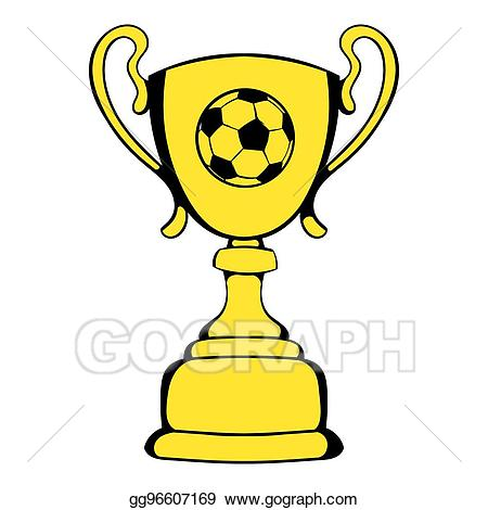 Drawing golden trophy cup. Award clipart soccer