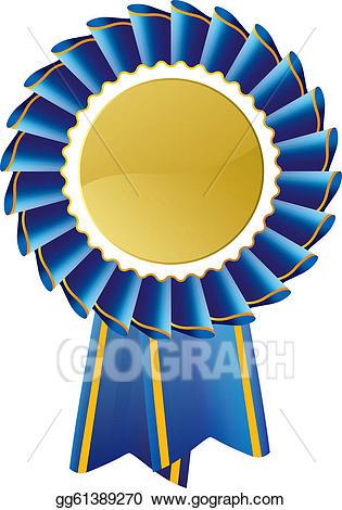 Award clipart symbol. Vector illustration blue seal
