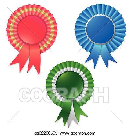 Vector blank ribbon rosette. Award clipart symbol