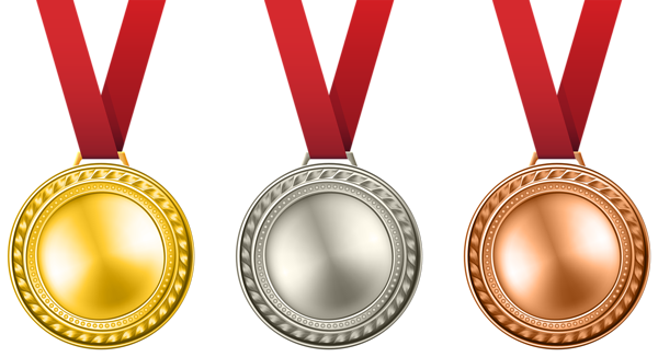 Medals set png clip. Award clipart transparent background