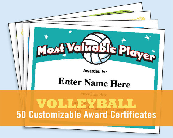 Award clipart volleyball. Certificates kid child certificate