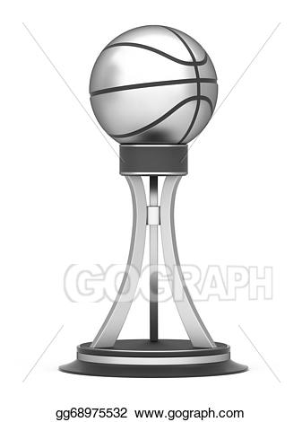 Drawing silver award trophy. Awards clipart basketball