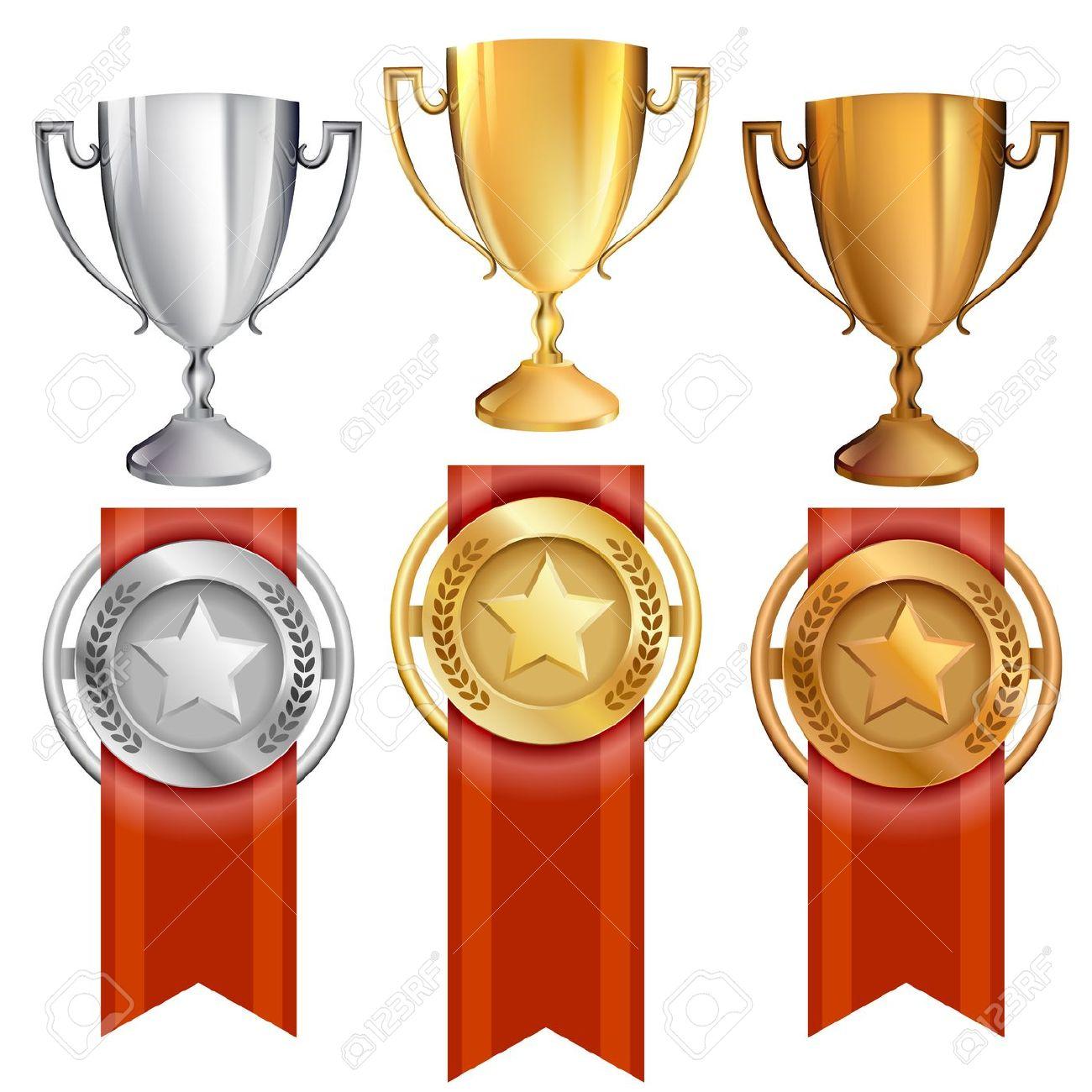 Trophy gold medal . Awards clipart bronze