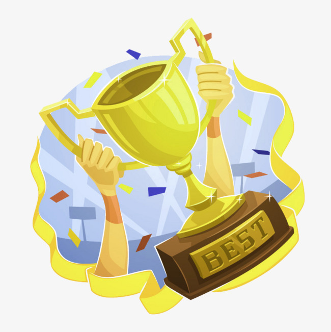 Awards clipart cartoon. Trophies cup holding a