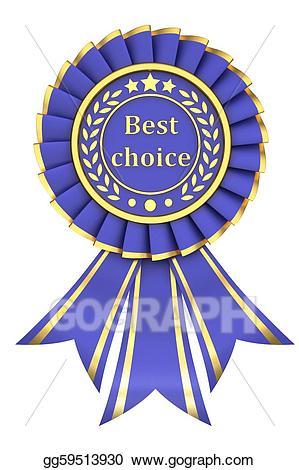 Awards clipart emblem. Stock illustration blue ribbon