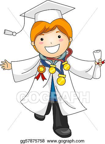 Stock illustration kid awards. Award clipart graduation