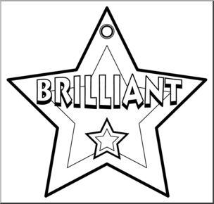 Clip brilliant b w. Award clipart line art