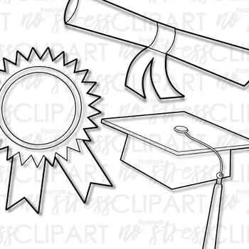 Graduation clip digital use. Awards clipart line art