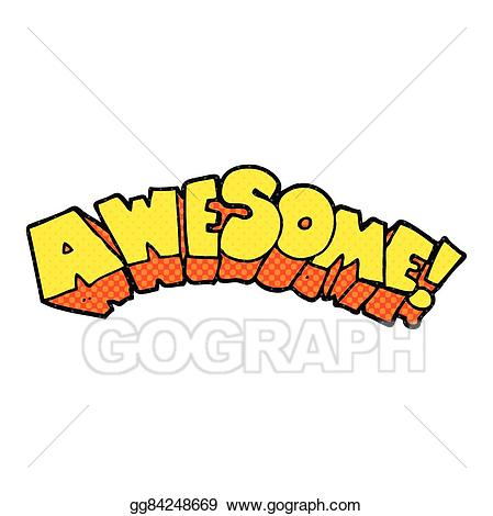Vector art word drawing. Awesome clipart cartoon