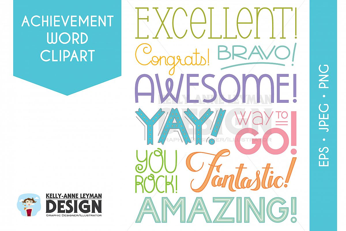 Achievement design bundles typography. Awesome clipart word encouragement