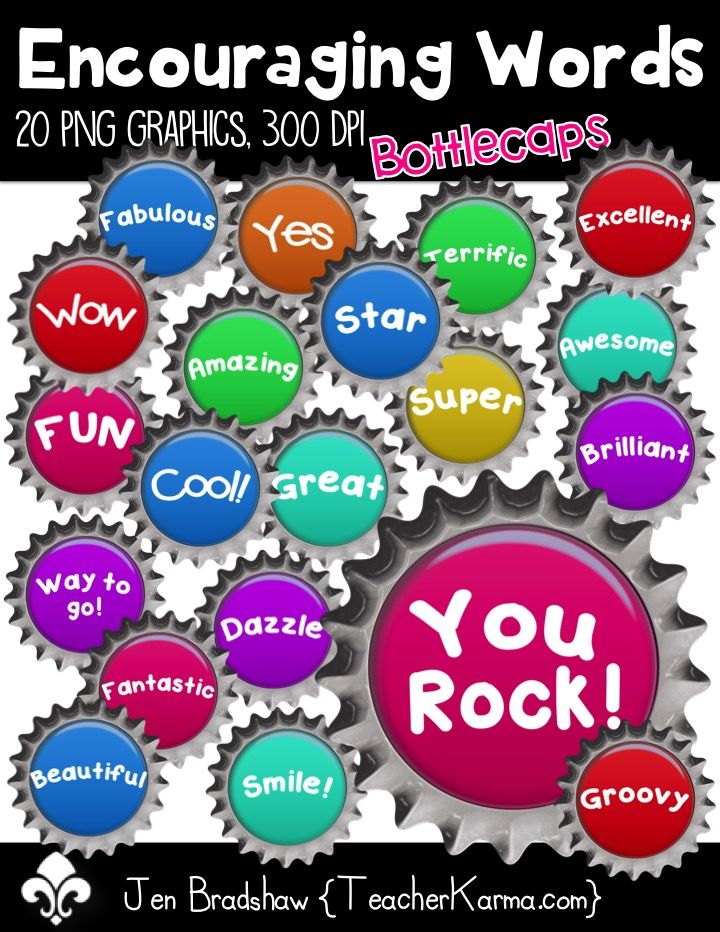 Encouraging words bottlecaps clip. Awesome clipart word encouragement