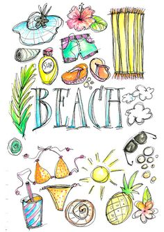 Summer watercolor digital download. California clipart illustrated