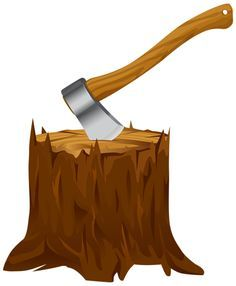 Tree stump with axe. Ax clipart chop wood