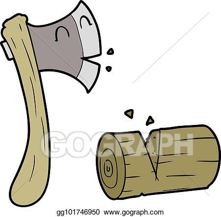 Ax clipart chop wood. Vector art cartoon axe