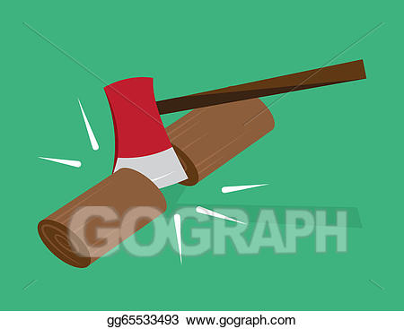 Ax clipart chopped wood. Vector illustration chopping stock