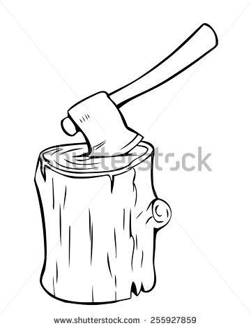 Vector illustration of axe. Ax clipart chopped wood