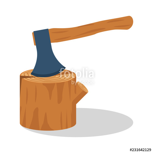 Ax clipart chopped wood. Axe stuck in the