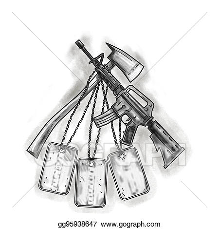 Ax clipart crossed fire. Stock illustration and m