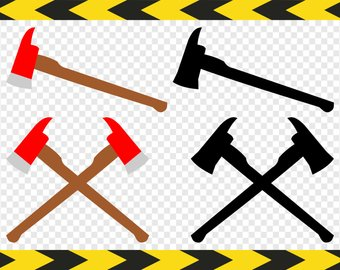 Ax clipart crossed fire. Axes etsy firefighter axe