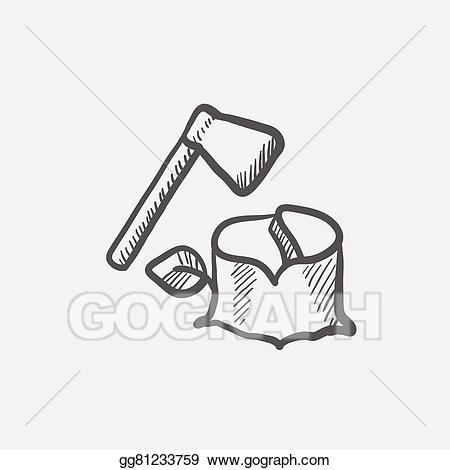 Vector art and wood. Ax clipart grey object