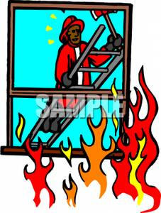 A fireman on with. Ax clipart ladder