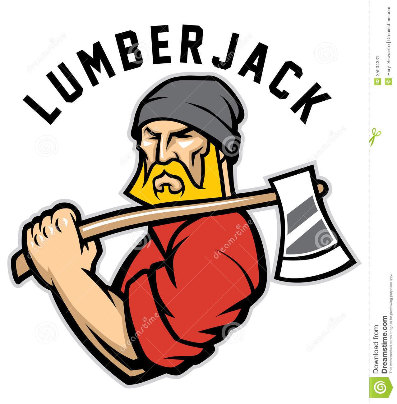 Clipground vector of mascot. Ax clipart lumberjack