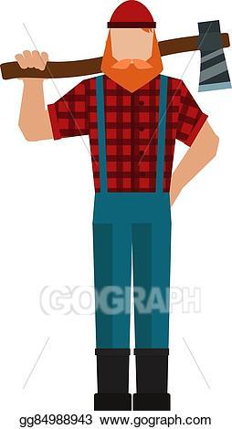 Ax clipart lumberjack. Vector illustration woodman woodcutter