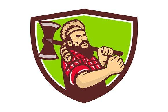 Shield retro illustrations creative. Ax clipart lumberjack axe