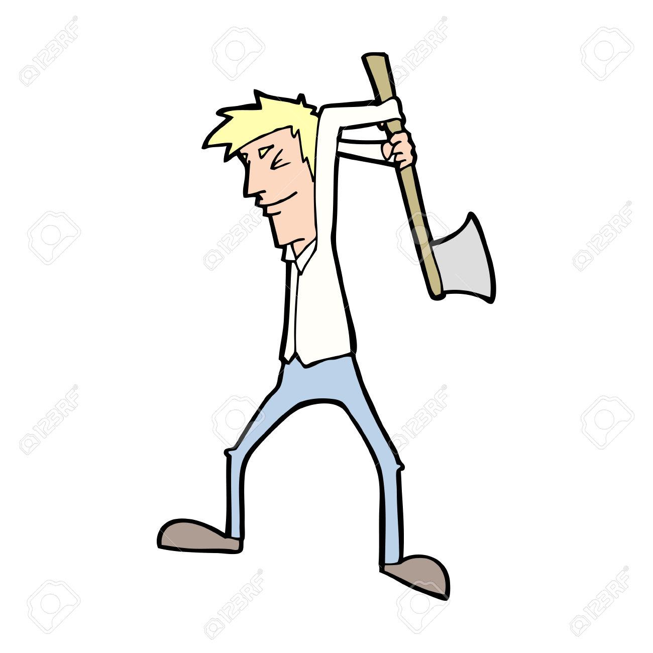 Ax clipart lumberjack axe. Man swinging at tree