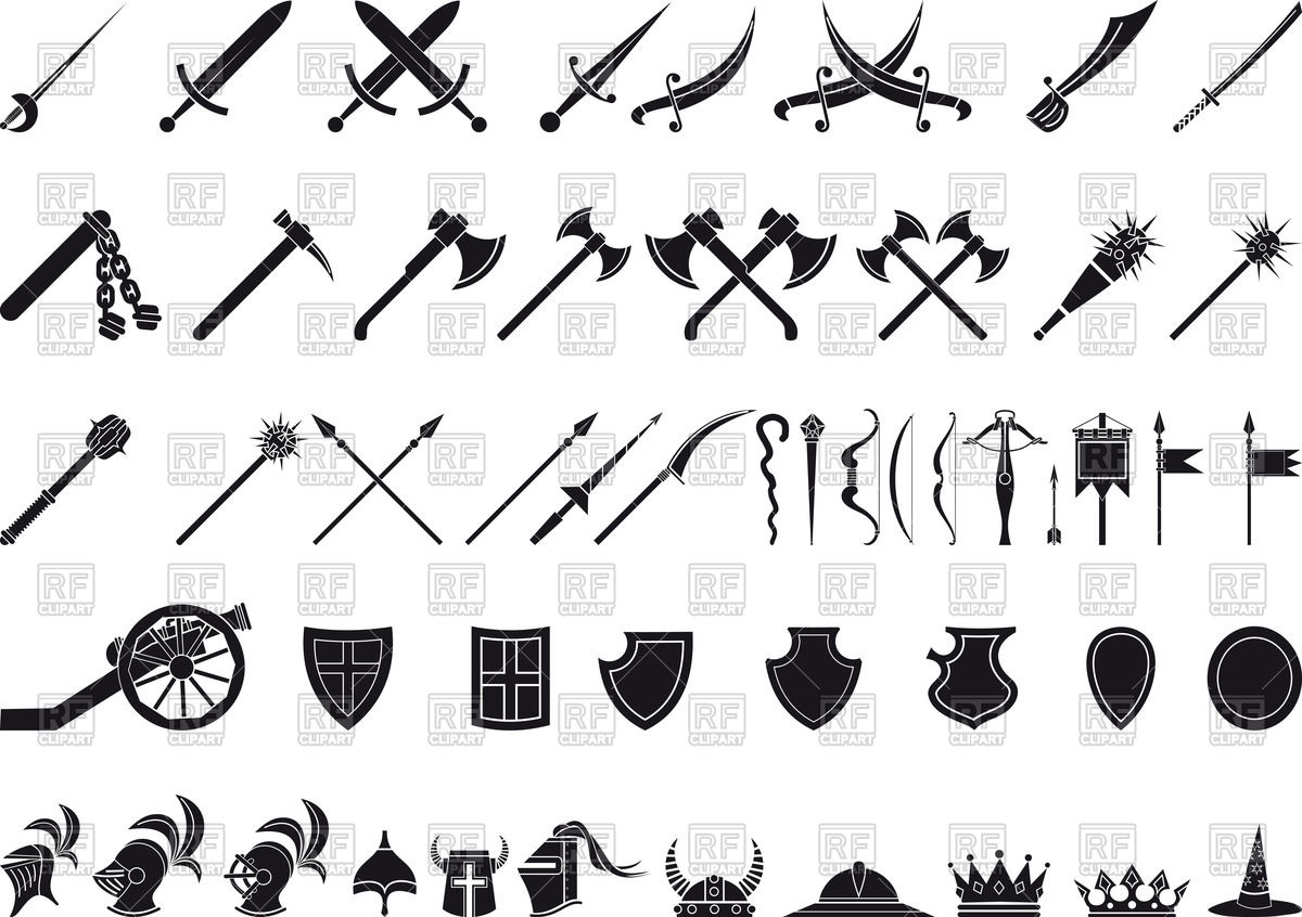 Axe weapon silhouettes of. Ax clipart medieval