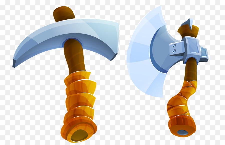 Cartoon weapon and hammer. Ax clipart silver axe