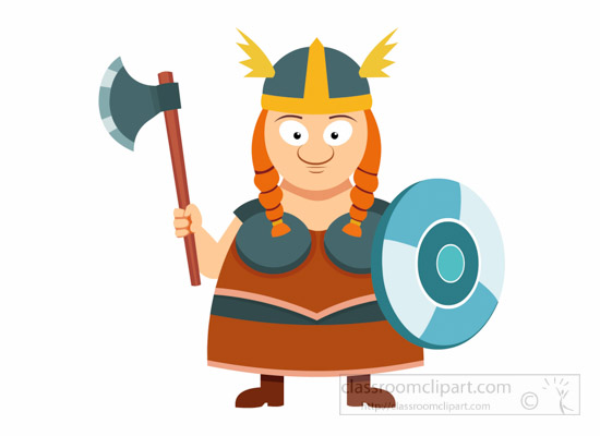 Vikings lady warrior with. Ax clipart viking