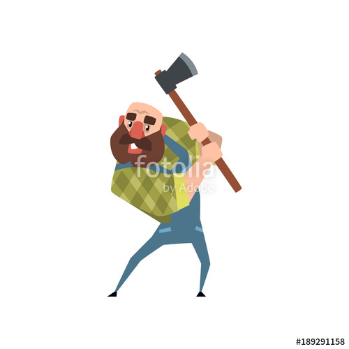 Ax clipart wood cutter. Strong bearded woodcutter working