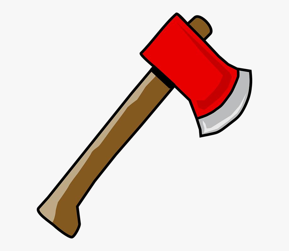 Red wood lumber hatchet. Axe clipart