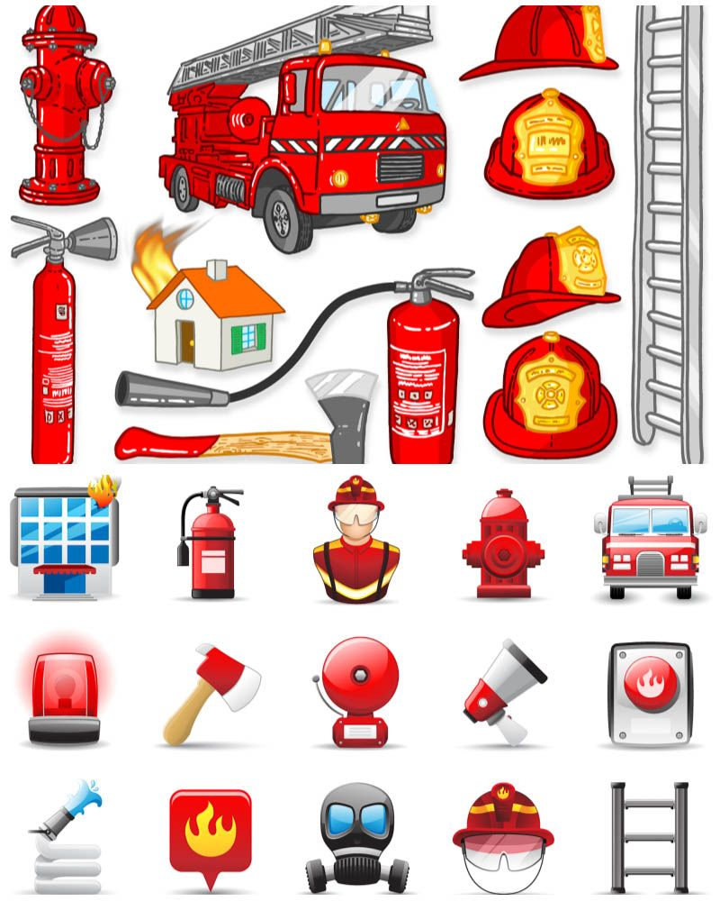 Firefighters Clothes And Tools | Firefighter, Clip art, Preschool colors