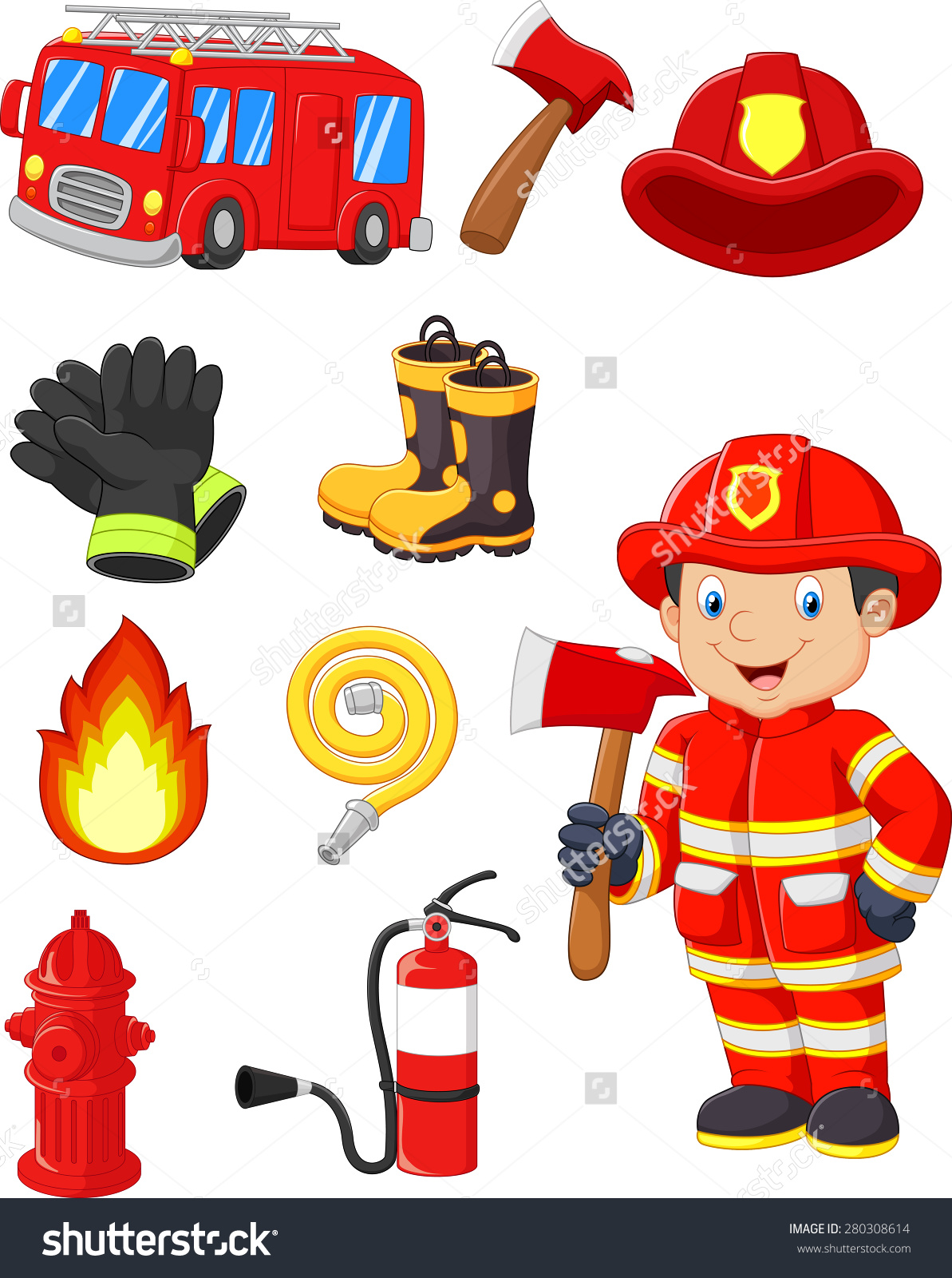 Fire equipment free collection. Axe clipart firefighter