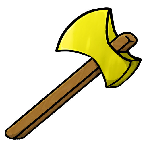 Pencil and in color. Axe clipart gold
