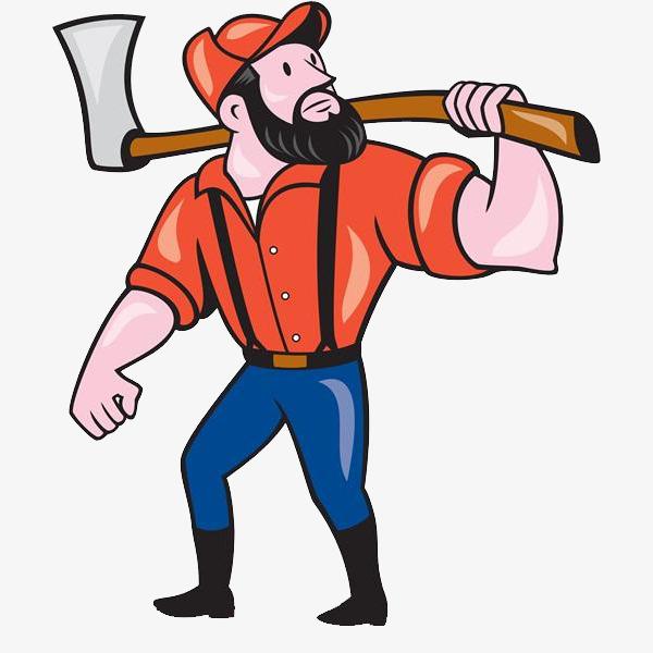 Ax clipart cartoon. A man with an